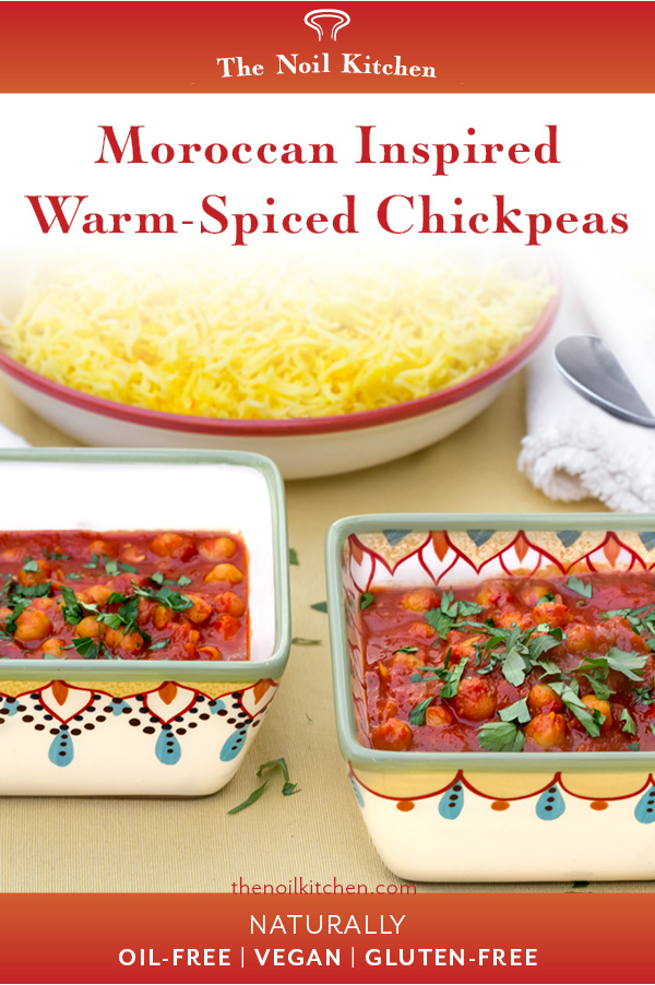 Poster Image: Moroccan Inspired Warm-Spiced Chickpeas in two colorful decoratively painted bowls