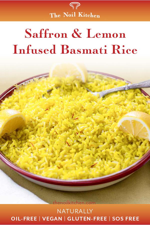 Pinterest Image: A shallow red-rimmed bowl filled with Saffron & Lemon Infused Basmati Rice, garnished with lemon wedges