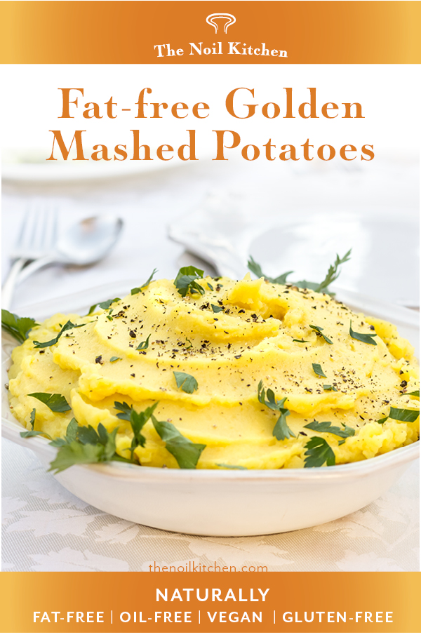 Pin Image: Fat-free Golden Mashed Potatoes in w white bowl garnished with cracked black pepper and parsley
