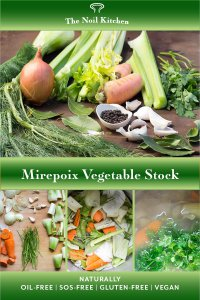 Pinterest Image: Mirepoix Vegetable Stock showing onion, celery, carrots, fennel, parsley stems and dried herbs on a board and 3 process photos