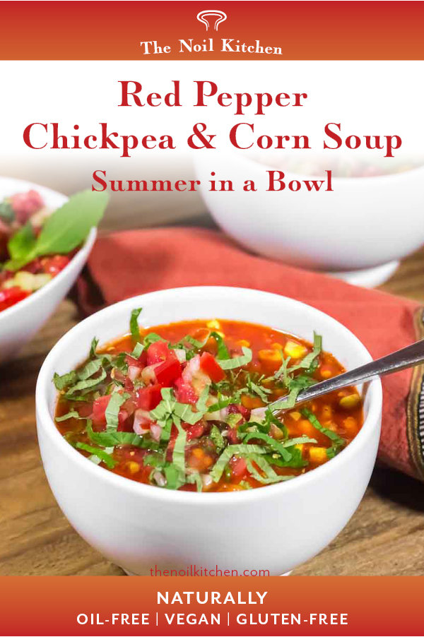 Pinterest Image: Two round white bowls with Red Pepper, Chickpea & Corn Soup garnished with salsa fresca and herbs, a small salsa bowl