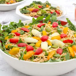 Family size serving bowl with Castelvetrano Olive, Tomato & Noodle Salad (Oil-free Vegan)