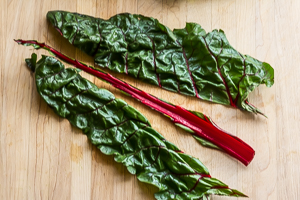 #1 Cut the Swiss chard leaves of the stems