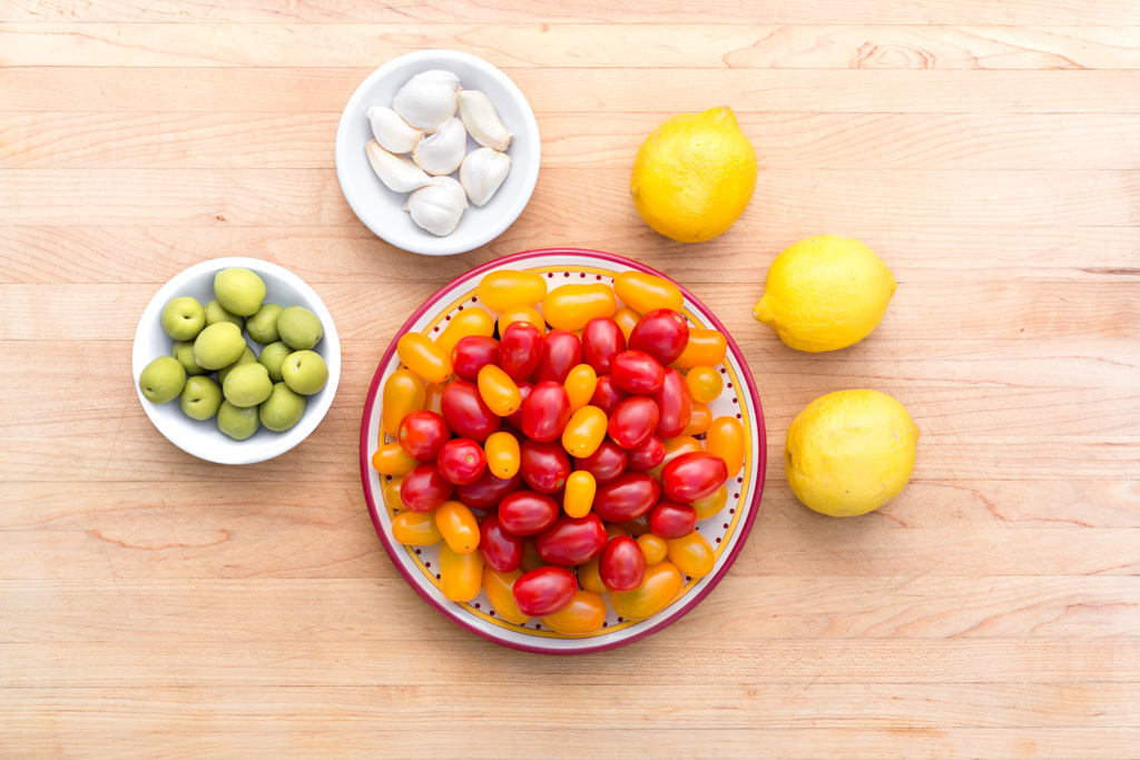 #1 Gather ingredients: Tomatoes, Olives, Garlic & Lemons