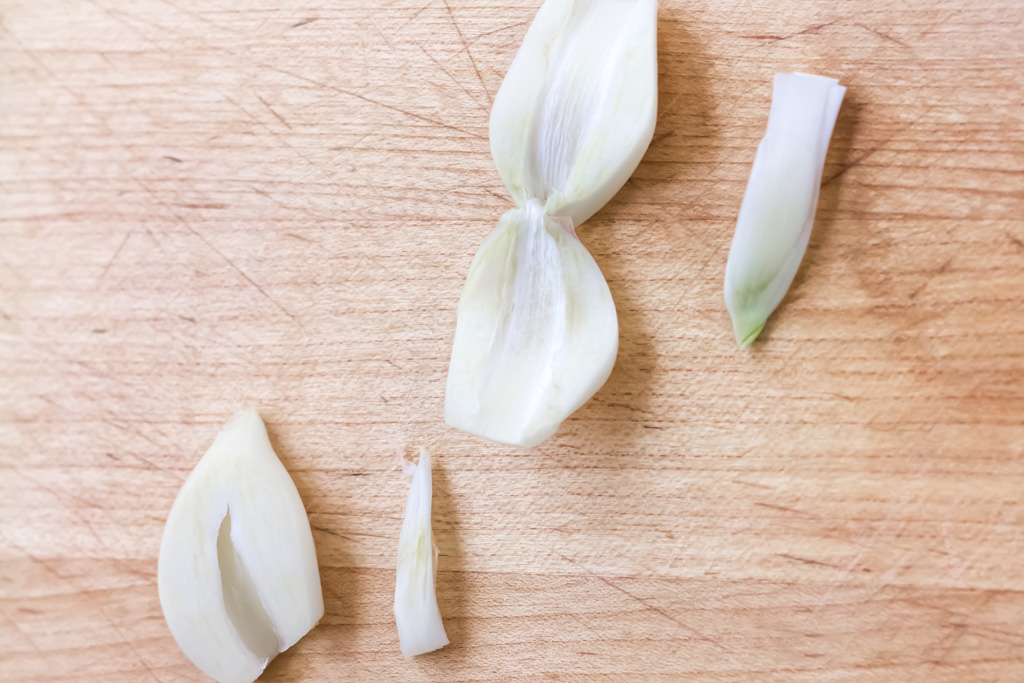 #5 Remove the grem from the center of the garlic clove.