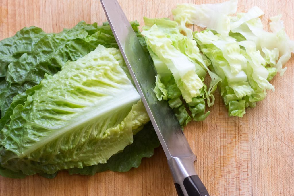 #6 Stack and cut romaine lettuce leaves into ribbons