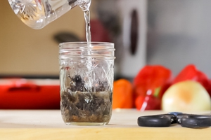 Cut the ancho into small pieces place in a jar and cover with hot water