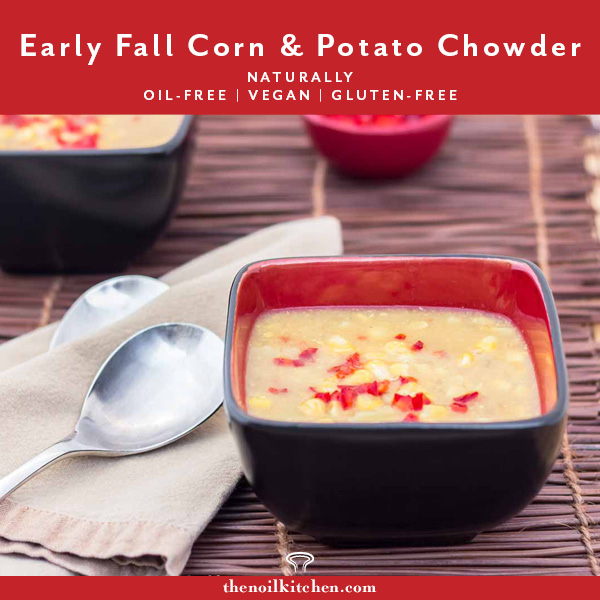 Pinterest Image: Black & red bowl with Early Fall Corn Chowder