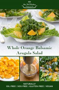 Using the whole orange gives richness to this fat-free dressing and a bright citrus sweetness to compliment the peppery arugula.