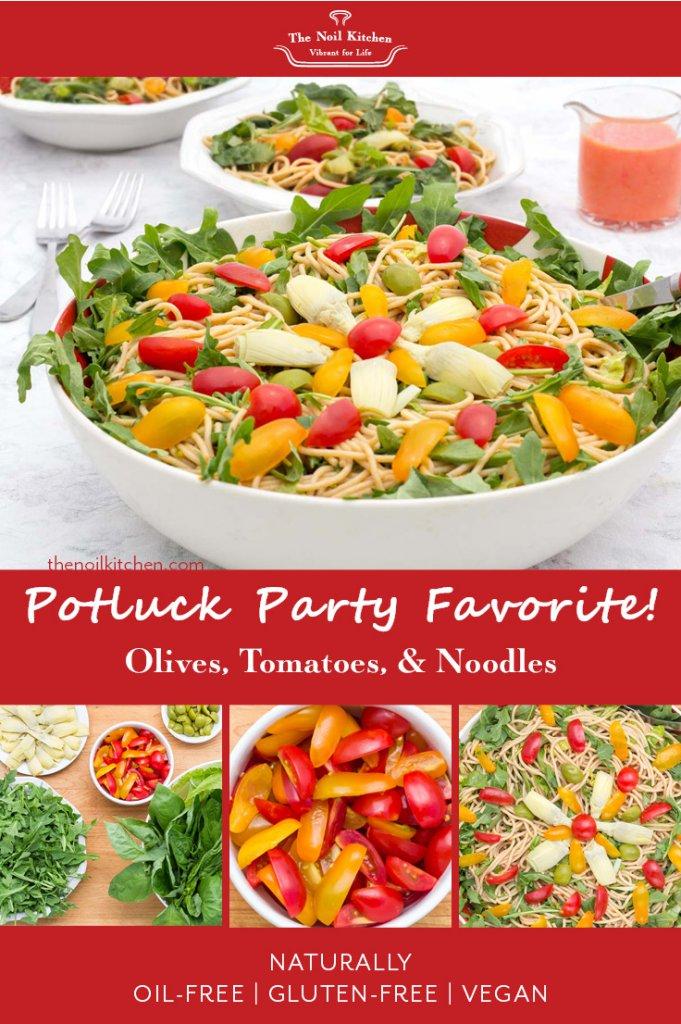 Pinterest Image: Castelvetrano Olive, Tomato Noodle Salad