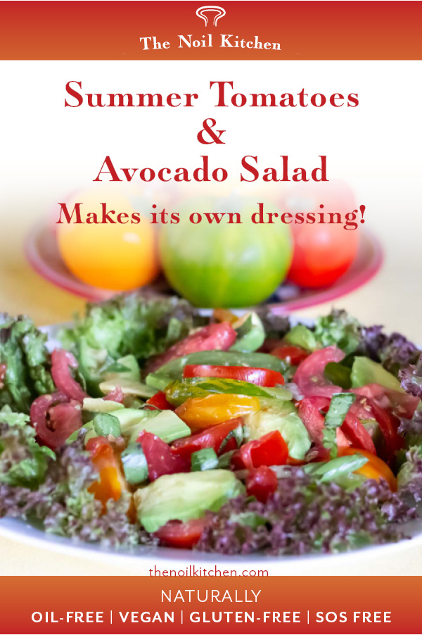 Pinterest Image: Summer Tomatoes & Avocado Salad on bed of red leaf lettuce (Lollo Rosso) with whole tomatoes behind.