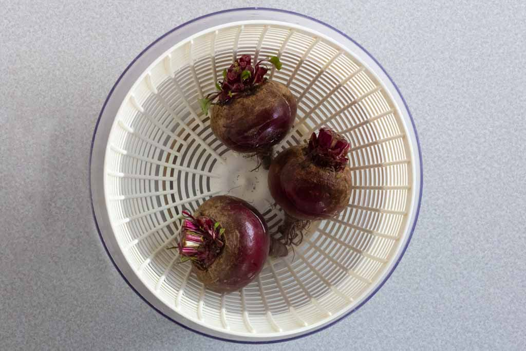 Three dark red beets in a salad spinner bowl filled with water
