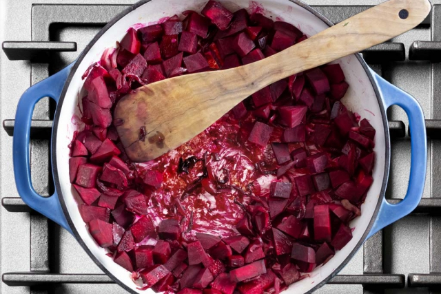 Beets pushed from center to show caramelization in the pan